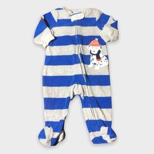 4/$20🥳 Long Sleeve Blue Striped Fleece Dog Print Sleeper
